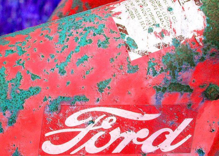 Ford Greeting Card featuring the photograph Ford Red by Tina B Hamilton