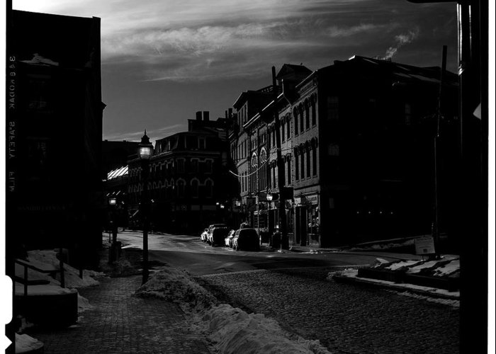 Black And White Greeting Card featuring the photograph Fore Street by Filipe N Marques