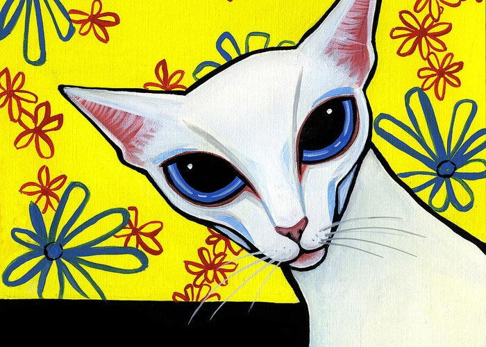 Cat Greeting Card featuring the painting Foreign White Cat by Leanne Wilkes