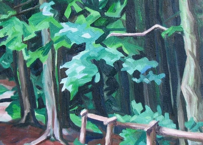 Landscape Greeting Card featuring the painting Forest 1 by Nel Kwiatkowska