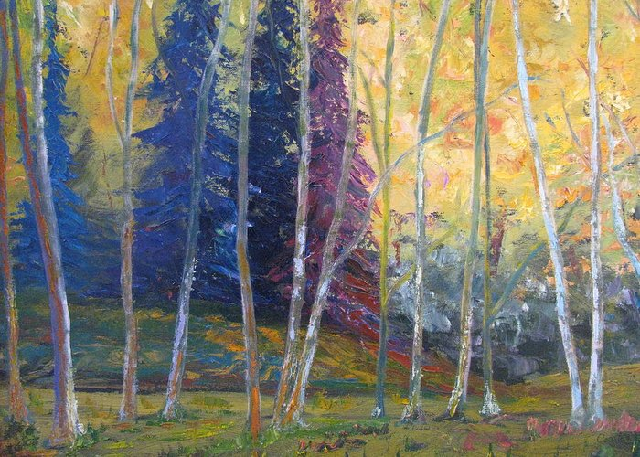 Impressionist Landscape Greeting Card featuring the painting Forest At Twilight by Belinda Consten