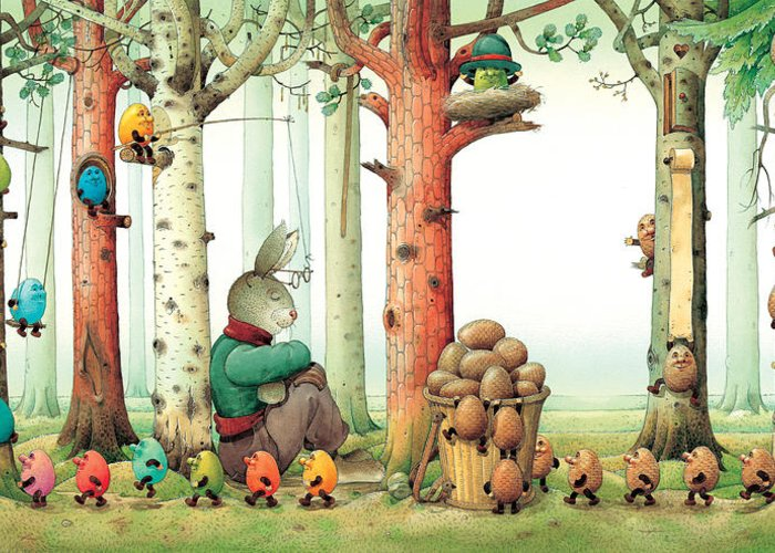 Eggs Easter Forest Greeting Card featuring the painting Forest Eggs by Kestutis Kasparavicius