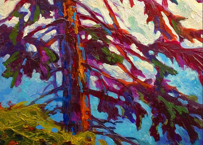 Trees Greeting Card featuring the painting Forest Elder by Marion Rose