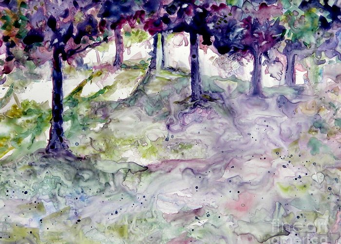 Fastasy Greeting Card featuring the painting Forest Fantasy by Jan Bennicoff