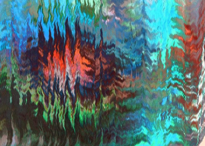 Abstract Greeting Card featuring the digital art Forest Fire by Lenore Senior