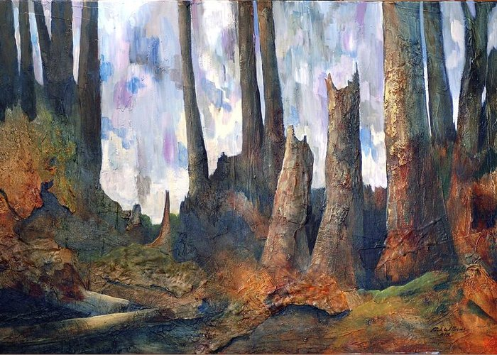 Trees Forest Stumps Sunlight Shadow Texture Greeting Card featuring the painting Forest Floor by Rich Williams