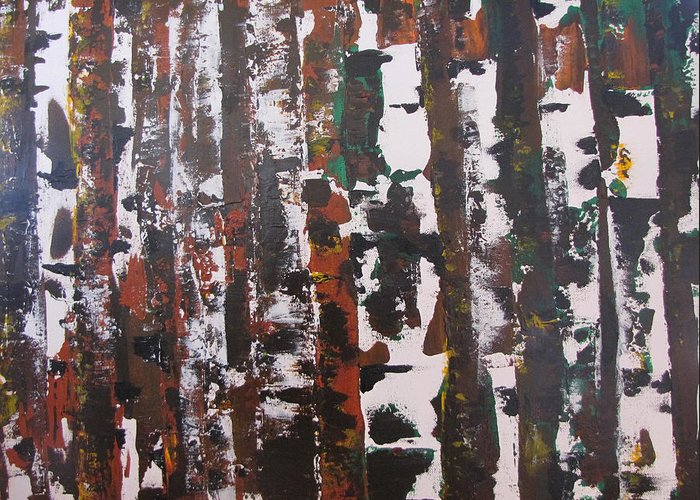 Abstract Greeting Card featuring the painting Forest For The Trees by Gary Smith