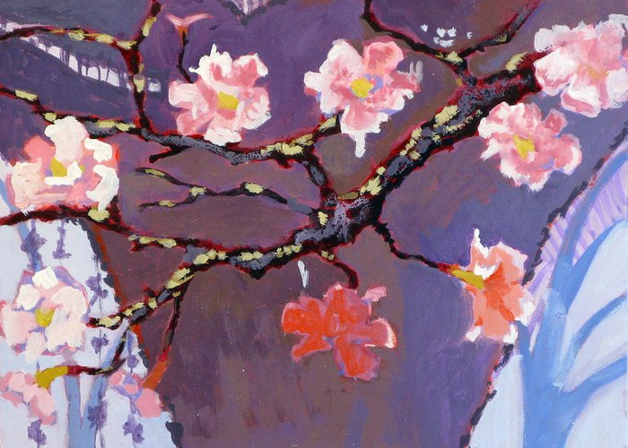 Blossom Greeting Card featuring the painting Forest In Bloom by Robert Bissett