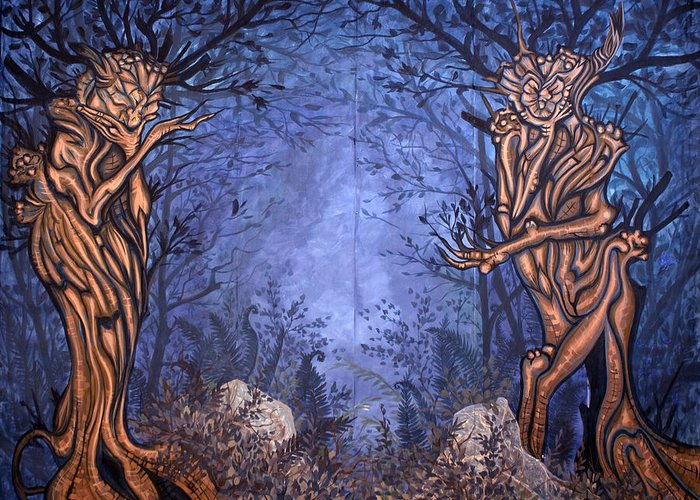 Mystic Greeting Card featuring the painting Forest by Judy Henninger
