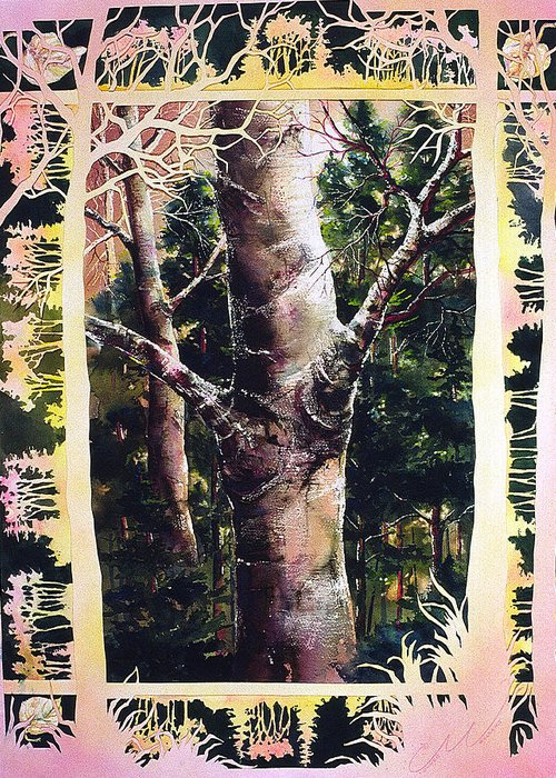 Forest Greeting Card featuring the painting Forest Light by Connie Williams