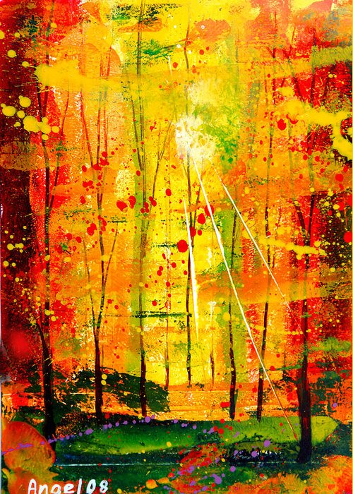 Landscape Greeting Card featuring the painting Forest Of Flame by Angel Ortiz