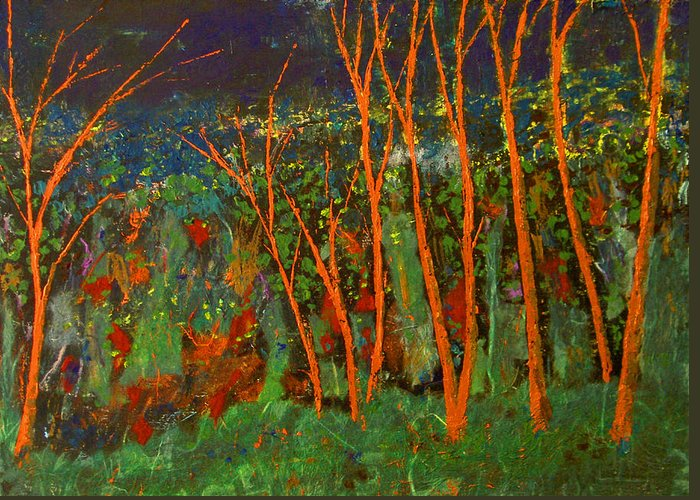 Abstract Greeting Card featuring the painting Forest Of Morpheus by Alexis Baranek