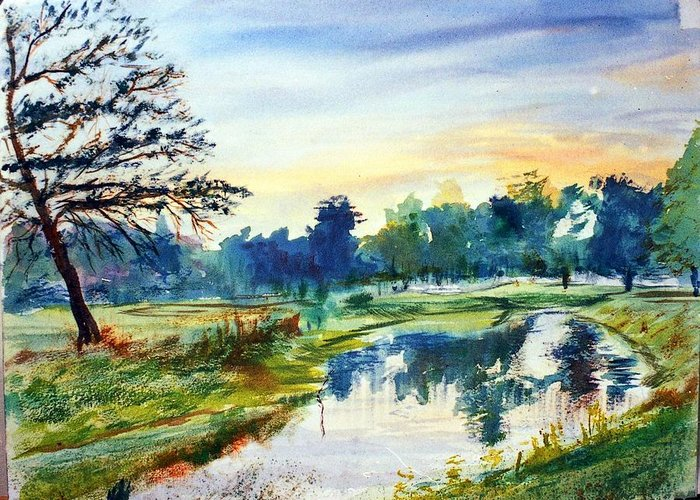 Watercolor Greeting Card featuring the painting Forest Park At Dawn by Horacio Prada