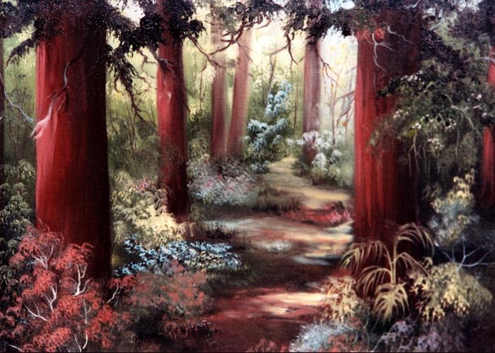 Oil Painting Greeting Card featuring the painting Forest Path by Joni McPherson