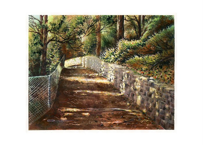 Landscape Greeting Card featuring the painting Forest Path White Cliff by Dumitru Barliga
