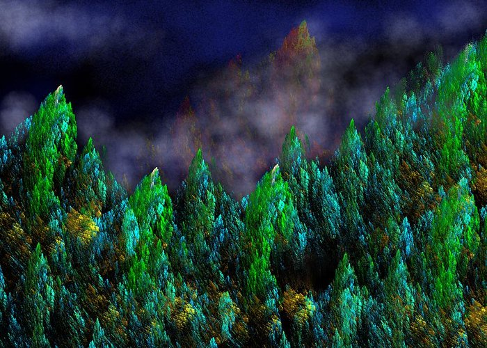 Abstract Digital Painting Greeting Card featuring the digital art Forest Primeval by David Lane