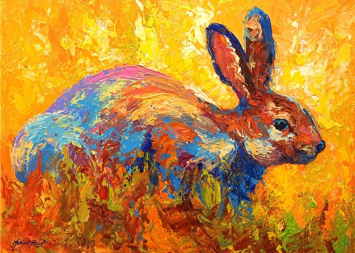 Rabbit Greeting Card featuring the painting Forest Rabbit II by Marion Rose