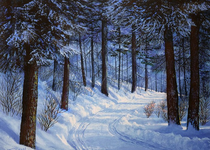 Landscape Greeting Card featuring the painting Forest Road by Frank Wilson