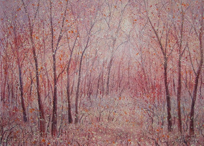 Landscape Greeting Card featuring the painting Forest Stillness. by Leonard Holland