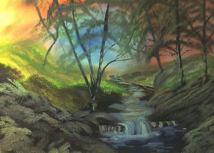 Brand Greeting Card featuring the painting Forest Stream by Bryan Perry