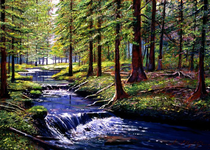 Forests Greeting Card featuring the painting Forest Waters by David Lloyd Glover