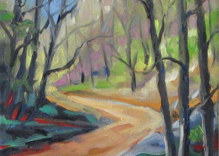 Art Greeting Card featuring the painting Forest Way by Richard T Pranke