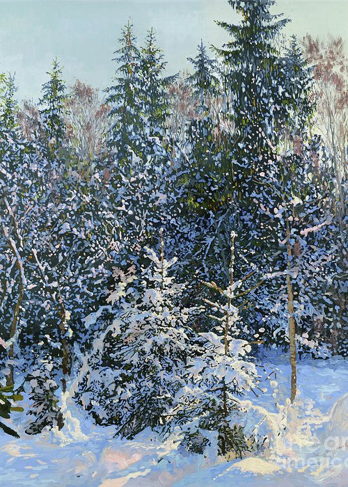 Winter Greeting Card featuring the painting Forest's Fairy-tale. by Simon Kozhin