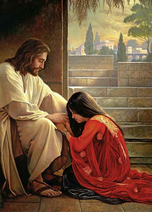 Jesus Greeting Card featuring the painting Forgiven by Greg Olsen