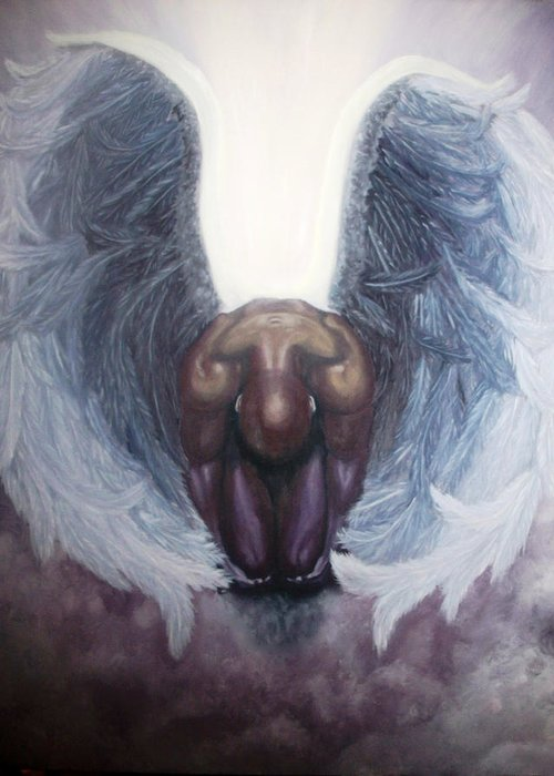 Angel Greeting Card featuring the painting Forgiven by Michelle Fayant