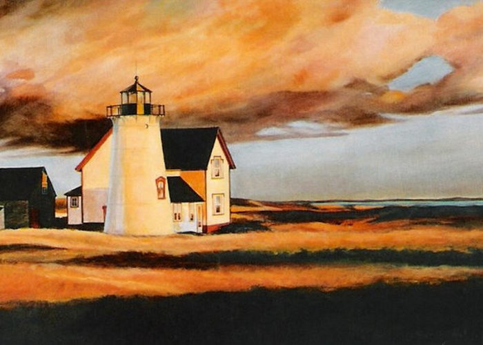 Cape Cod Greeting Card featuring the painting Forgotten Light by Keith Gantos