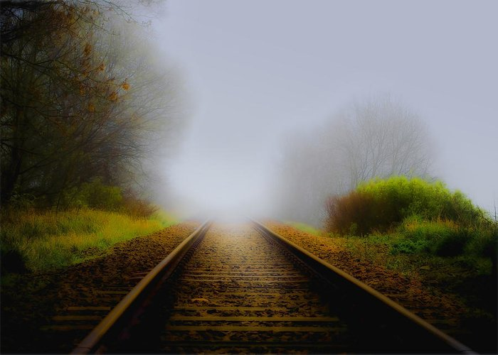 Art Greeting Card featuring the photograph Forgotten Railway Track by Svetlana Sewell