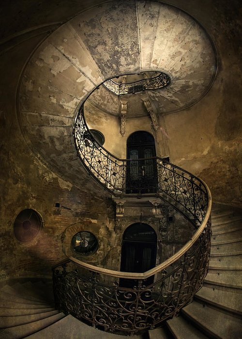 Staircase Greeting Card featuring the photograph Forgotten Staircase by Jaroslaw Blaminsky