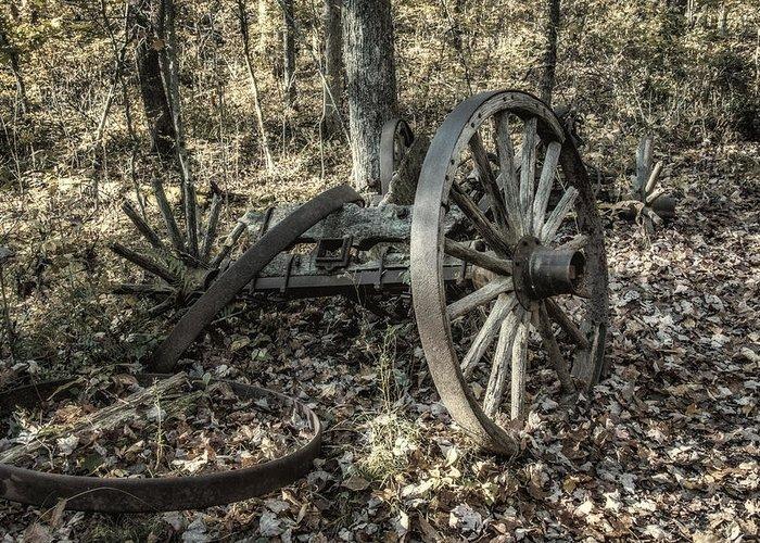 Wheel Greeting Card featuring the photograph Forgotten Wagon by Tom Mc Nemar