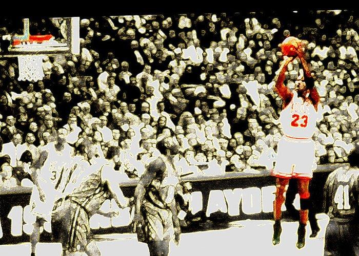 Michael Jordan Greeting Card featuring the digital art Form by Brandon Ramquist