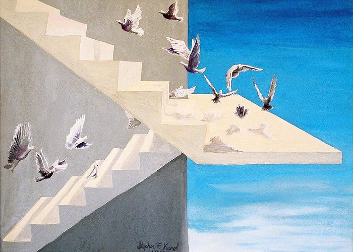 Birds Greeting Card featuring the painting Form Without Function by Steve Karol