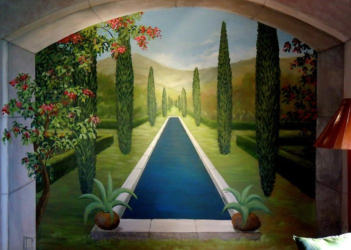 Greeting Card featuring the painting Formal Pond Mural-costa Rica by Scott K Wimer