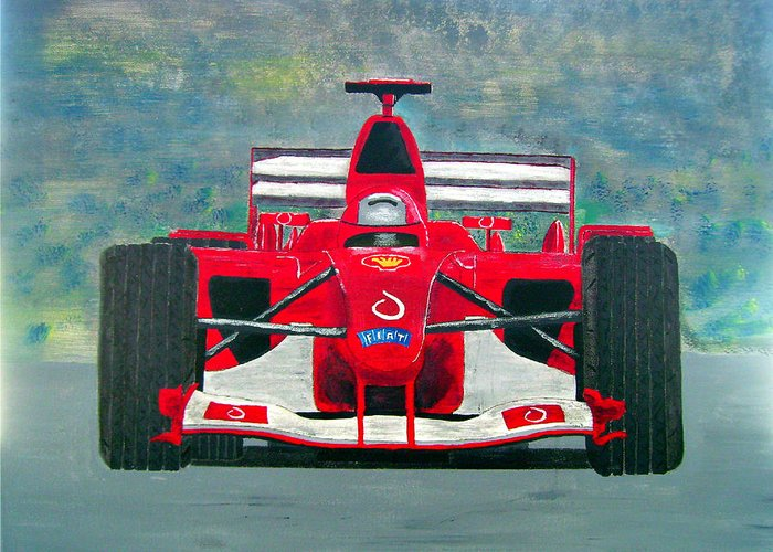 Auto Racing Greeting Card featuring the painting Formula 1 by Ken Pursley