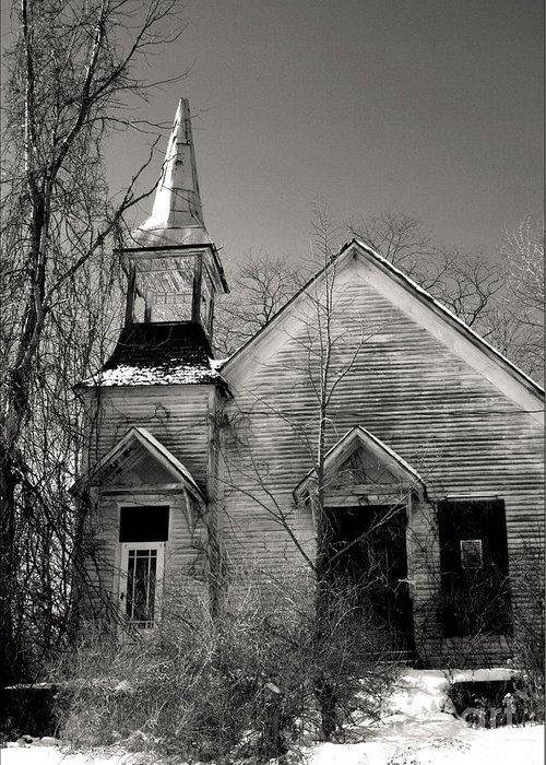 Church Greeting Card featuring the photograph Forsaken by Debra Straub