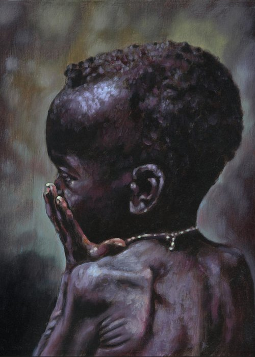 Starving Child Greeting Card featuring the painting Forsaken by John Lautermilch
