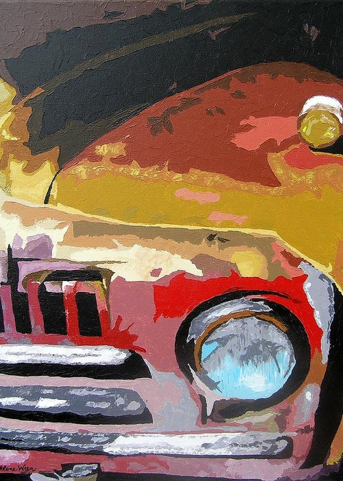 Cars Greeting Card featuring the painting Forsaken by Ricklene Wren