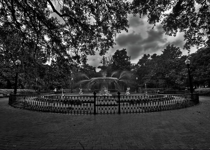 Savannah Greeting Card featuring the photograph Forsyth Park Fountain Hdr by Jason Blalock