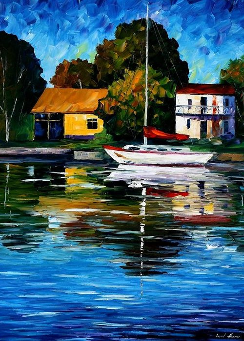 Afremov Greeting Card featuring the painting Fort Lauderdale - Florida by Leonid Afremov