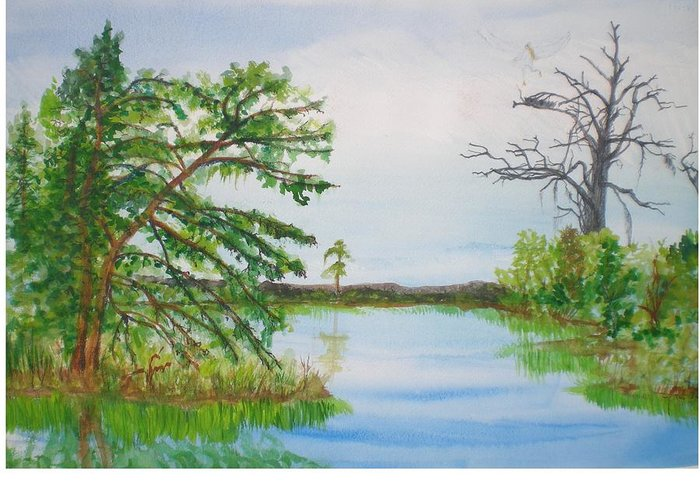 Landscape Greeting Card featuring the painting Fort Mc Coy Lake by Hal Newhouser