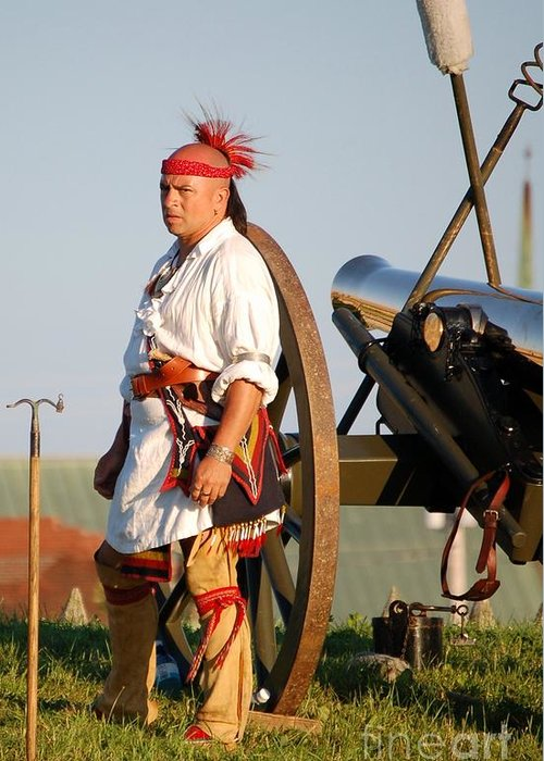 Diane Berry Greeting Card featuring the photograph Fort Stanwix Warrior by Diane E Berry