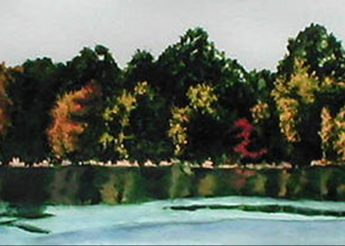 Landscape Greeting Card featuring the painting Fort Toulouse Coosa River by Beth Parrish