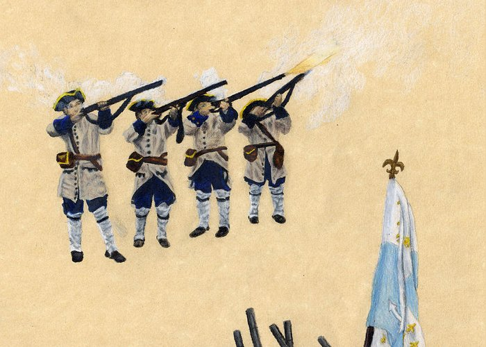 Fort Toulouse Greeting Card featuring the drawing Fort Toulouse Soldiers Firing by Beth Parrish