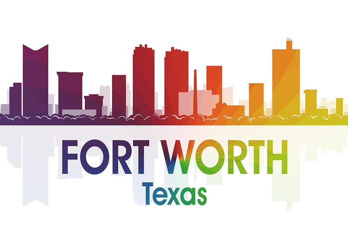 Fort Worth Greeting Card featuring the digital art Fort Worth Tx by Angelina Vick