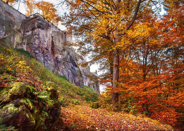 Fortification Koenigstein Greeting Card featuring the photograph Fortification Koenigstein In Autumn Time by Jenny Rainbow