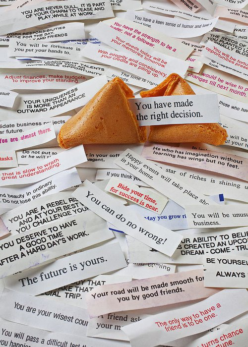 Fortune Cookie Sayings Words Greeting Card featuring the photograph Fortune Cookie Sayings by Garry Gay