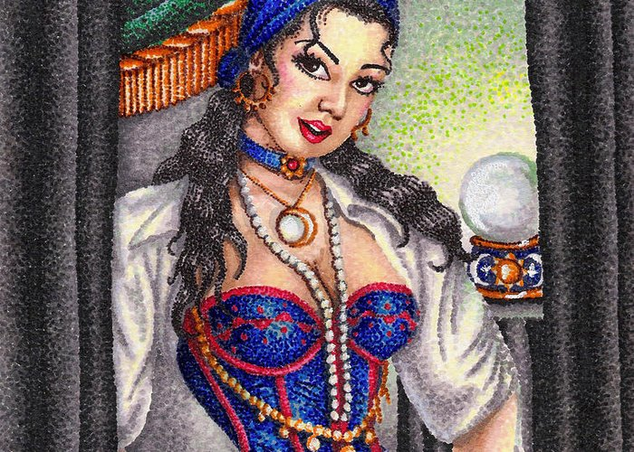 Woman Greeting Card featuring the drawing Fortune Teller by Scarlett Royal